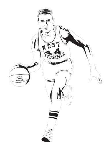 Jerry West - West Virginia Mountaineers from the Everything collection by Dropkickers