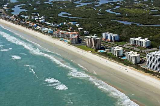 nsb aerial from the Aerial New Smyrna Beach collection by Russell C Tucker