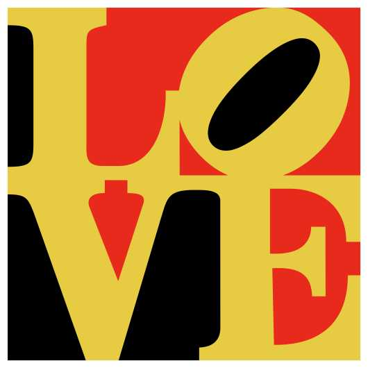 LOVE Poster Red Black Yellow Indiana from the Astropixel NYC collection by MyHouseCulture.com