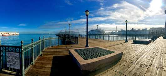 Pier by Bay Bridge (San Francisco) from the Scenic Panoramas collection by Michelle Pettinella