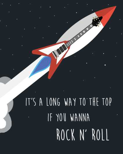It's A Long Way to the Top   ACDC Inspired Art Print from the Lyric Art Prints collection by Lyrical Perceptions