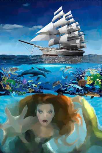 mermaid_at_sea_paint2.jpg from the Water Landscapes collection by Burton Hadfield