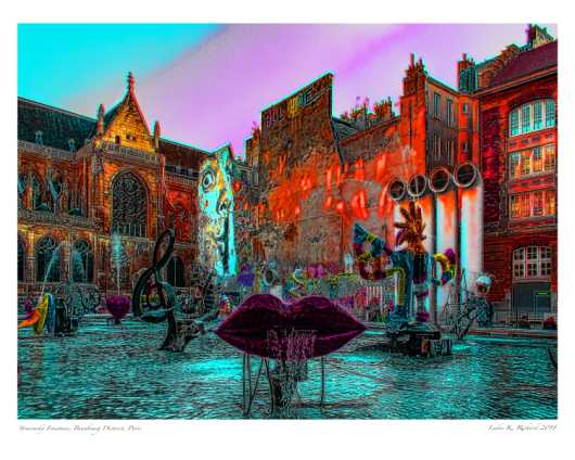 Stravinsky Fountain Paris_3_16x20 Use Premium Matte Photo Paper from the Paris Art Prints collection by Ladee K Rickard