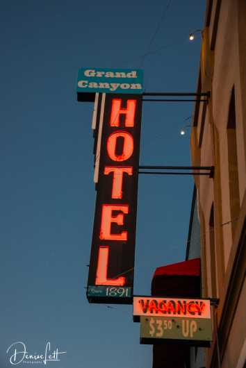 13 Grand Canyon Hotel Neon Sign Route 66 Williams Arizona from the Route 66 collection by Denise Lett
