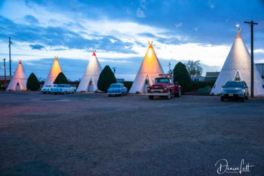 15 Row of Tepees & Classic Cars at Sunset Wigwam Motel Route 66 Holbrook Arizona from the Route 66 collection by Denise Lett