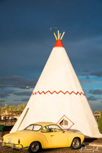 20 Yellow Classic Car & Tepee Wigwam Village Motel Route 66 Holbrook Arizona from the Route 66 collection by Denise Lett