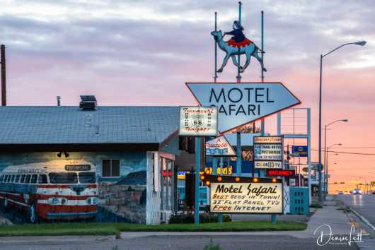 1 Motel Safari Mural & Roadside Sign at Sunset Route 66 Tucumcari NM from the Route 66 collection by Denise Lett