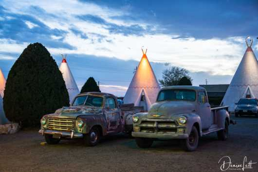 21 Classic Trucks & Tepees Dusk Wigwam Motel Route 66 Holbrook Arizona from the Route 66 collection by Denise Lett