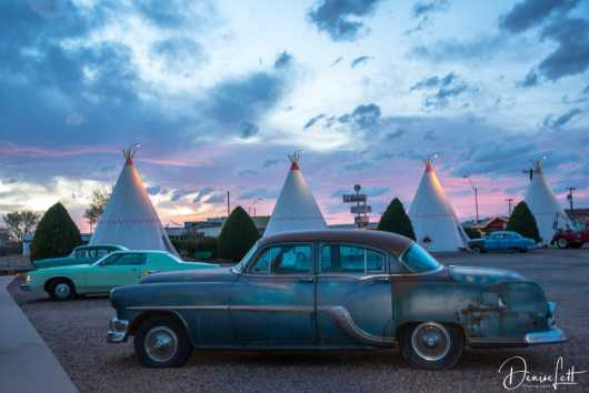 11 Classic Cars & Tepees at Sunset Wigwam Village Motel Route 66 Holbrook Arizona from the Route 66 collection by Denise Lett