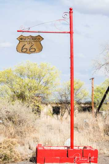 48 Old Wooden New Mexico US 66 Road Sign Route 66 San Fidel New Mexico from the Route 66 collection by Denise Lett