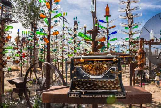44 Typewriter and Bottle Trees Bottle Tree Ranch Route 66 Oro Grande California from the Route 66 collection by Denise Lett
