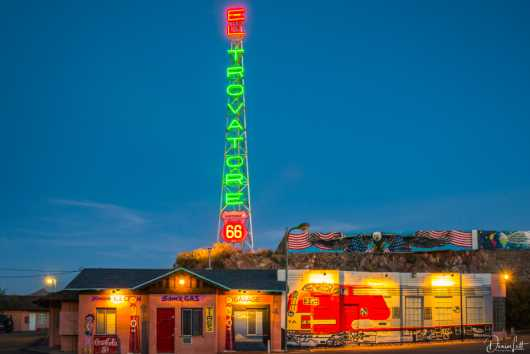 64 El Trovatore Vertical Neon Sign & Back Buildings at Night Kingman Arizona Route 66 from the Route 66 collection by Denise Lett