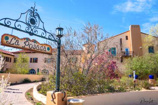 72 La Posada Front Entrance & Sign Winslow Arizona from the Route 66 collection by Denise Lett