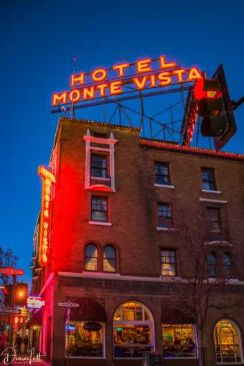 69 Hotel Monte Vista at Night Flagstaff Arizona Route 66 from the Route 66 collection by Denise Lett