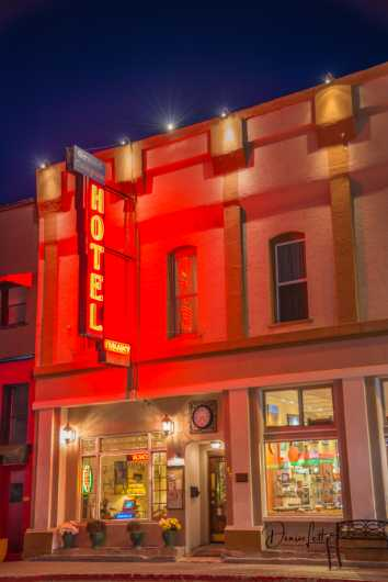 66 Grand Canyon Hotel at Night Williams Arizona Route 66 from the Route 66 collection by Denise Lett