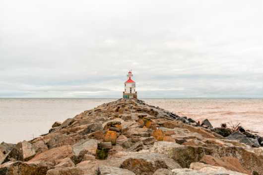 Lighthouse at the end of Wisconsin Point Pier from the For Sale collection by Robert Fortner Photography
