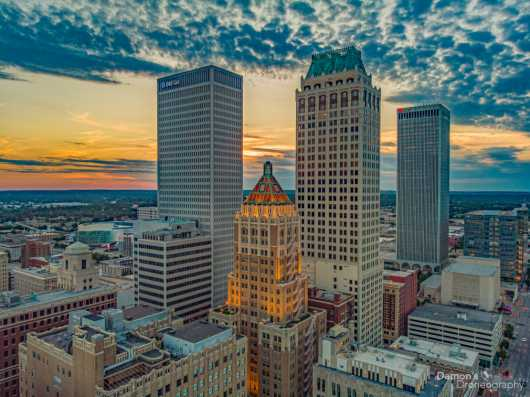 Downtown-Tulsa-sunset.jpg from the Downtown Tulsa collection by Damon's Droneography
