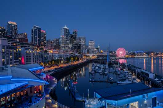 Blue Hour Seattle from the Sights Of Washington State collection by Domestic Wanderer Photography