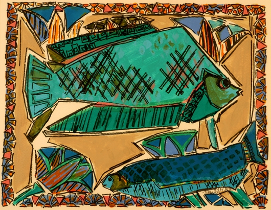 Two Fish from the Prints Collection 1 collection by Mona A. El-Bayoumi