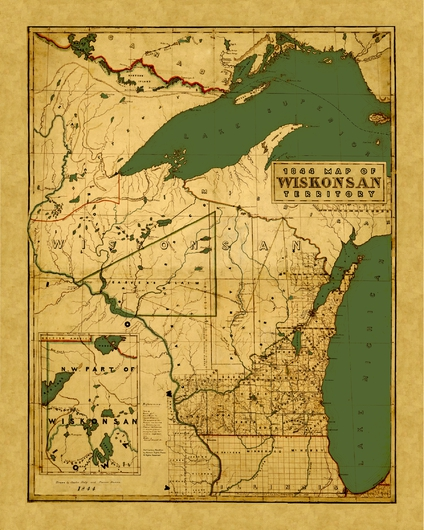 Wiskonsan 1844 from the Historic Wisconsin State Maps Revived collection by Historic Sights Press