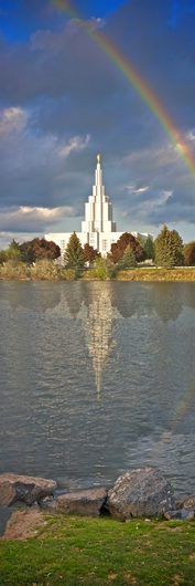 Idaho Falls Idaho LDS Temple Panorama with Rainbow by Lacie Kirk from the LDS Temple Panoramas  collection by Lacie Halford