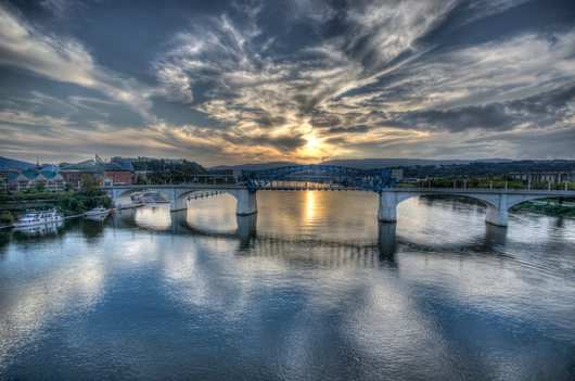 Bridge at Sunset from the Downtown Chattanooga collection by Jeremy Screws