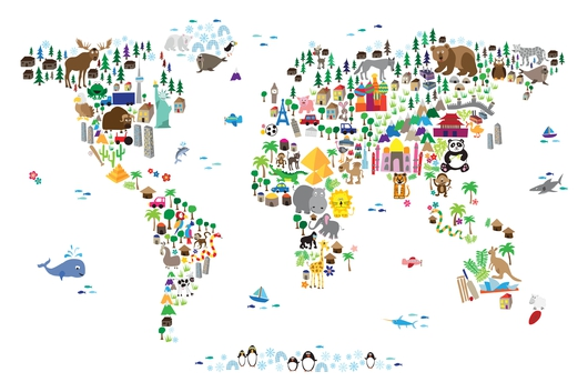 Animal Map of the World for Children White from the Maps collection by ArtPause