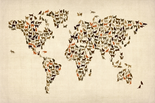 Cats Map of the World Map on Beige from the Maps collection by ArtPause