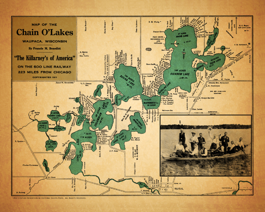 1911 Benedict Bluegill 4:5 from the Historic Waupaca Chain O'Lakes Maps Revived collection by Historic Sights Press