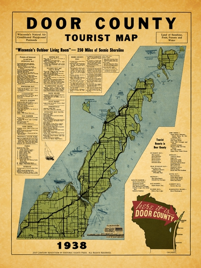 Door County 1938 from the Historic Door County Wisconsin Maps Revived collection by Historic Sights Press