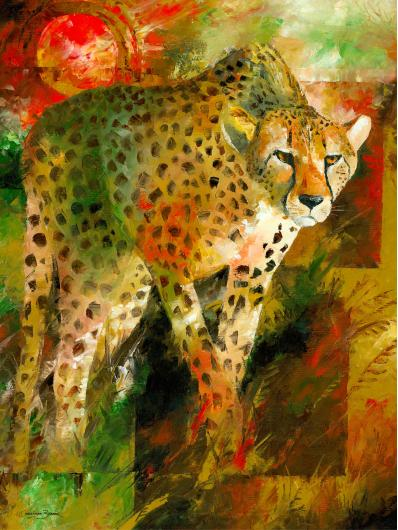 Cheetah Hunting Art Prints from the Wildlife collection by Christiaan Bekker