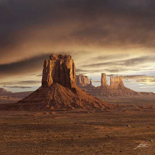 Monument Valley Stormy Sunset Square from the Sunrise...Sunset collection by Lou Oates