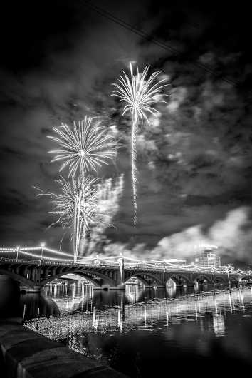 Fireworks in Tempe from the Black and White collection by Rachel Houghton