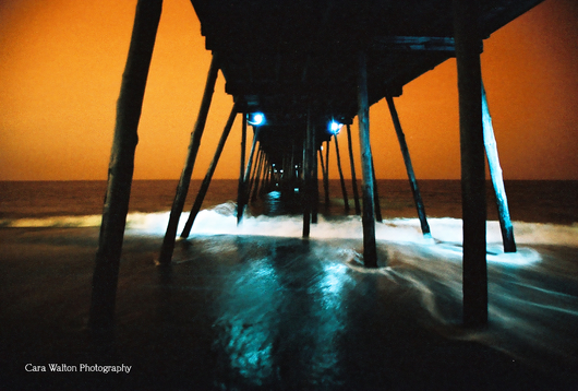 Avalon Fishing Pier Timed Exposure LomoChrome Turquoise 35mm from the The Outer Banks of North Carolina collection by Cara Walton