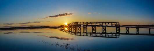 Sandwich Boardwalk Reflection Blue from the Sunrise/Sunset Photos collection by TJ Walsh Photography