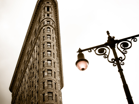 Vintage Flatiron Building with Lamp from the New York City collection by Art4Artists