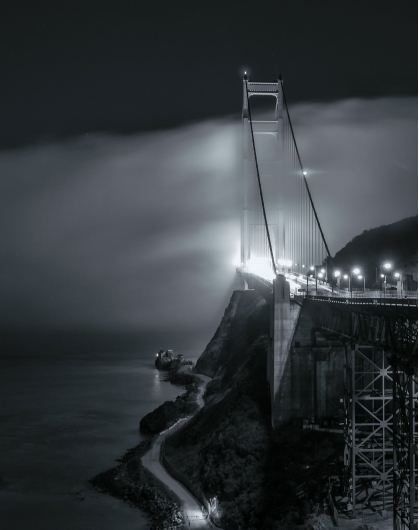 Golden Gate Bridge at Night in Black and White from the Gallery collection by Alex McClure
