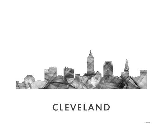 cleveland_-wb-bw-16x20.jpg from the U.S. Skylines collection by Marlene Watson Art
