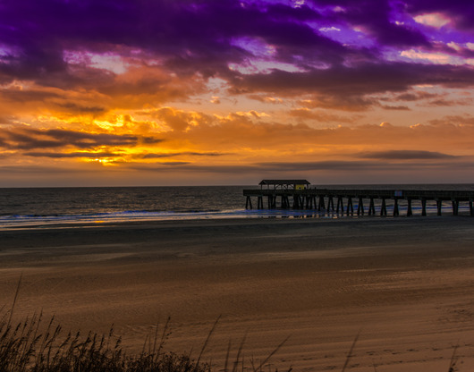 Tybee Island Pier Purple Sunrise from the Sunrise/Sunset Photos collection by TJ Walsh Photography