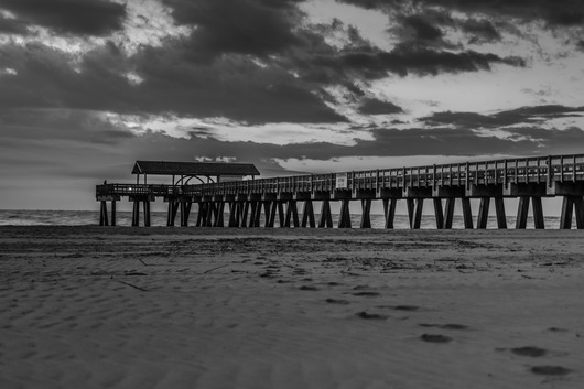 Beach Boardwalk Black and White from the Black and White collection by TJ Walsh Photography