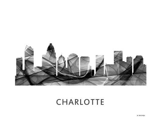 charlotte_nc_bw_wb.jpg from the U.S. Skylines collection by Marlene Watson Art