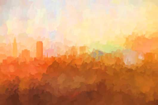 baton_rouge_louisiana_skyline_in_clouds.jpg from the U.S. Skylines collection by Marlene Watson Art