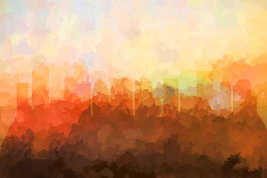 charlotte_nc_skyline_in_clouds.jpg from the U.S. Skylines collection by Marlene Watson Art