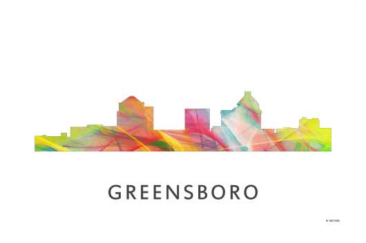 greensboro_north_carolina_skyline_wb-1.jpg from the U.S. Skylines collection by Marlene Watson Art