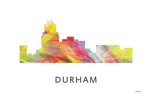 durham_nc_wb-1.jpg from the U.S. Skylines collection by Marlene Watson Art