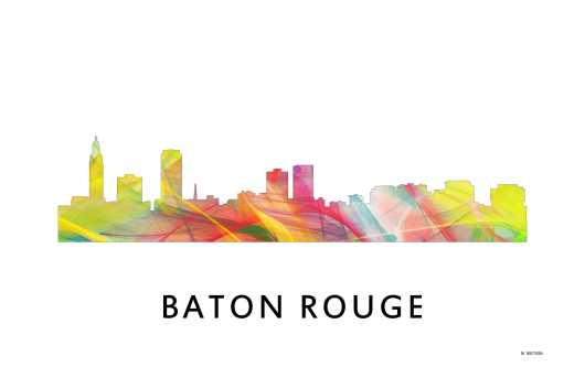 baton_rouge_louisiana_skyline_wb-1.jpg from the U.S. Skylines collection by Marlene Watson Art